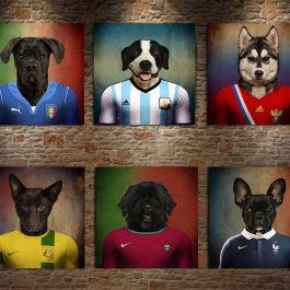 Dog Football Star Poster Print Canvas Painting No Frame