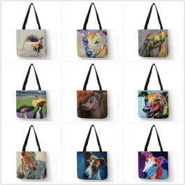 Oil Painting Greyhound Dog Prints Tote Bag