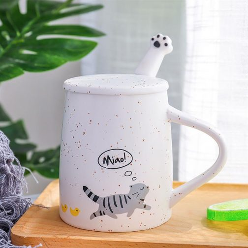 Cat coffee ceramic porcelain with lid and stainless steel spoon