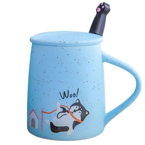 Dog coffee ceramic porcelain with lid and stainless steel spoon