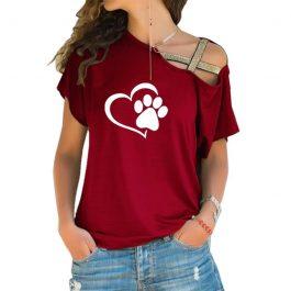 Cross-shoulder Paw Heart T-shirt
